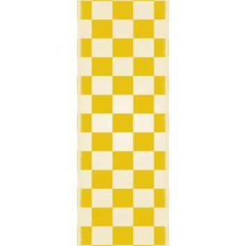 English Checker Design  Size Rug: 2ft x 6ft yellow & white colors