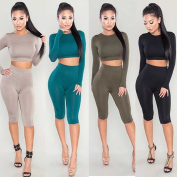 Two Piece Set Long Sleeve Bodycon Crop Top Women's Suit Sexy Crop Top+Knee Pants Tracksuit Sportwear Fitness Clothes for Women