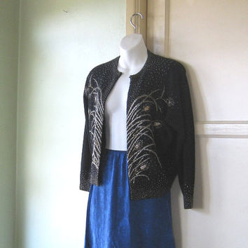 Silver/Gold Bead Embellished Black Cardigan - Medium Black Beaded Cardigan - Gorgeous Angora Blend Black Swing Cardigan