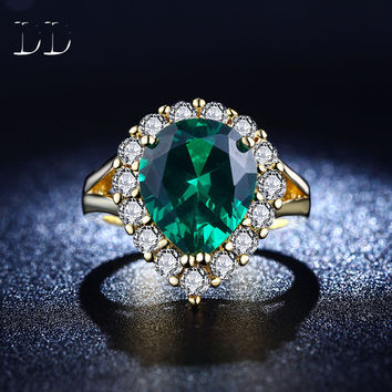 Emerald jewelry CZ diamond wedding Engagement rings for women white Gold Plated bague Green gem fashion bijoux Accessories DD201