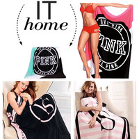 Fashion Style Coral Fleece Printed Victoria Classic Love Pink Secret Keep Body Warm living room Bed Throw Blanket  130cm*150cm