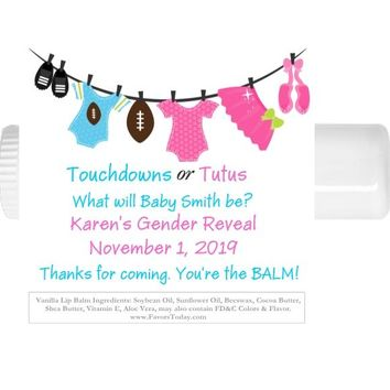 15 Touchdown or Tutus Baby Shower Lip Balm Favors Gender Reveal
