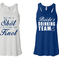 """""""Buy Me A Shot I'M Tying The Knot"""" & """"Bride's Drinking Team"""" Bachelorette-Party-Shirts White and True Royal"""