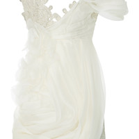 Embroidered Lace Draped Mini Dress | Moda Operandi