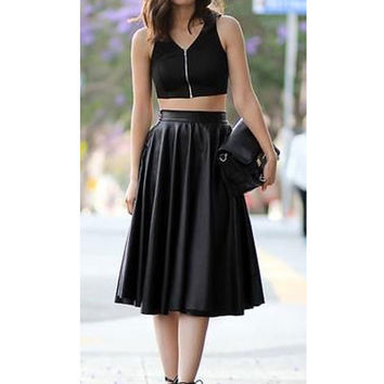 Black High Waist Faux Leather Pleated Skirt