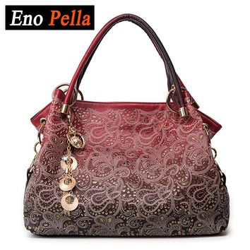 EnoPella brand ladies pu leather tote bag women bag hollow out ombre handbag shoulder bags