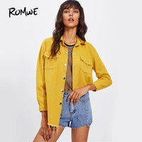 Frayed Yellow Denim Jacket Single Breasted Women Curved Hem Basic Coat Fall Brief Turn Down Collar Long Sleeve Jacket