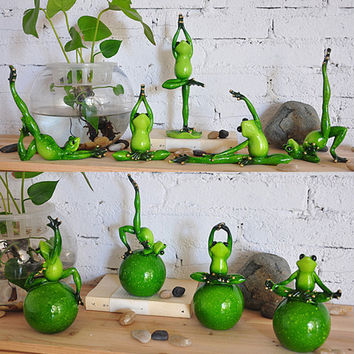 Yoga Frogs Figurine Home Decoration