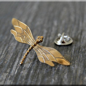Brass Dragonfly Tie Tac, Lapel Pin, Dragonfly Brooch, Gift for Him, Gift Under 10 Dollars, Insect Pin, Dragonfly Accessory, Unisex Pin