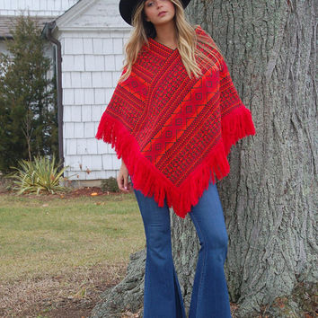 Vintage 70s GUATEMALAN Poncho Red EMBROIDERED Hippie Poncho FRINGE Poncho Boho Cape