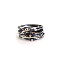 Rustic Oxidized Sterling Silver Ring with 3  by camilaestrella