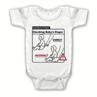 Funny Cute Instructions Checking Baby's Diaper Bodysuit - Infant Baby Clothes
