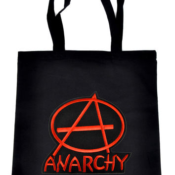 Red Anarchy Sign on Black Tote Book Bag Punk Rock Handbag