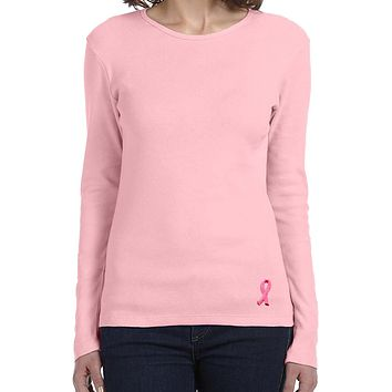 Buy Cool Shirts Ladies Breast Cancer Tee Embroidered Ribbon Bottom Long Sleeve