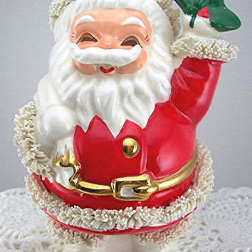 Spaghetti Santa Bank Made in Japan Vintage Figurine Holiday Collectible Christmas Ceramic Coin Bank