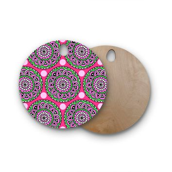 "Sarah Oelerich ""Watermelon Mandala"" Pink Green Round Wooden Cutting Board"