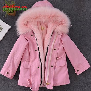 chifave New Winter Coat Baby Girls Boys Plush Liner Hooded Fur Collar Long Warm Kids Parkas Children Girls Boys Jacket Fashion