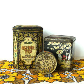 instant collection of vintage tins . tobacco tin . china tea tin . oriental tin . decorative . home decor . shabby chic