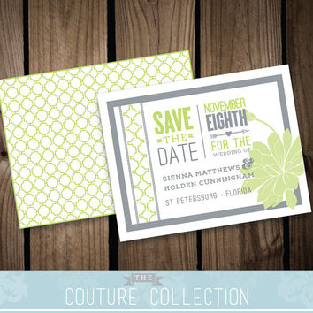SAVE the DATE card Modern Pattern Succulent Digital Wedding Invitation - Fully Customizable Custom Colors Printable DIY Digital File
