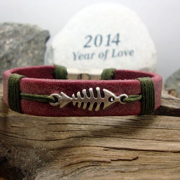 FREE SHIPPING - Men's leather bracelet,men bracelet,men gift, open burgundy leather and skeleton fish,  green yarn, silver plated  clasp.