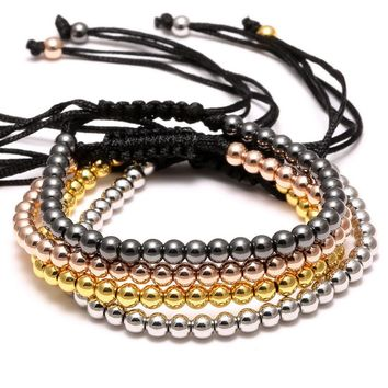 Round Beads Macrame Braided Bracelets For Women Four Color Black Bead Bracelet Fashion Jewelry