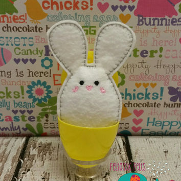 Tiny stuffed big ear bunny egg buddy, embroidered, party favor, stuffed animal, stuffie, travel toy, stuffed toy, embroidery, grab bag