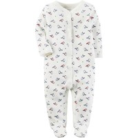 Carter's White Bird Printed Snap Front Footie - Ivory / 3 Months