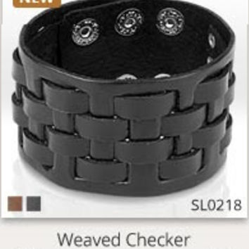 Medievel Weave Black Leather Bracelet