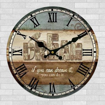 Brown Vintage Dream Wall Clock With Roman Numerals 12-INCH 30CM Country Kitchen