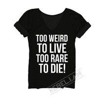 TOO WEIRD Tshirt with sleeve tabs, unique, tunic for women, rock shirt with v neck