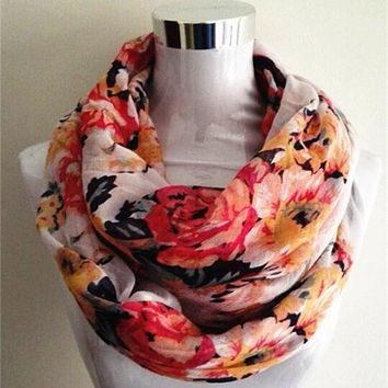 New Women Ladies Fashion Viscose Cotton big flowers scarf Rose Floral Printed Cotton Voile infinity Scarf