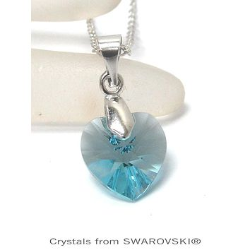 Genuine Swarovski Blue Crystal Semplice Heart Pendant Necklace