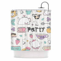 """MaJoBV """"Tea Party"""" White Multicolor Shower Curtain"""