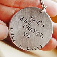 Personalized Keychain  Hand Stamped She's by RiverValleyJewelry