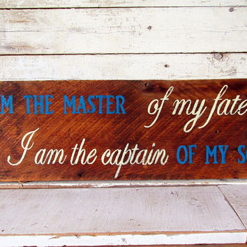 Rustic Wood Wall Art Signs and Sayings, I Am the Master of My Fate Quote