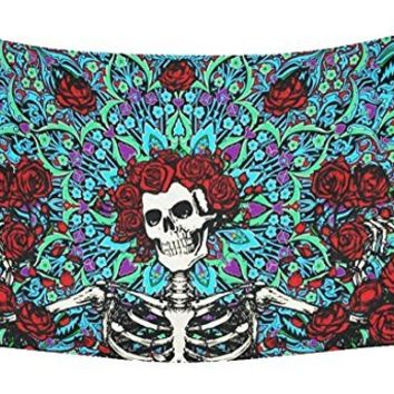 OULIU Skull Printed Bohemian Wall Hanging Boho Twin Bedspread Tapestries 1 os