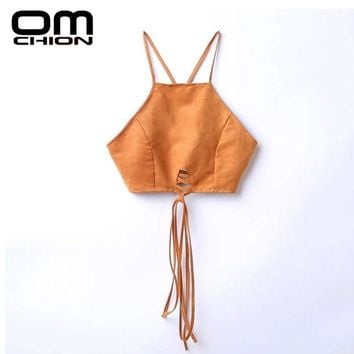 DKF4S OMCHION 2017 New Women Sexy Halter Suede Crop Top Back Lace Up Backless Zipper Camis Unlined Bra Vintage Brown Tops BD01