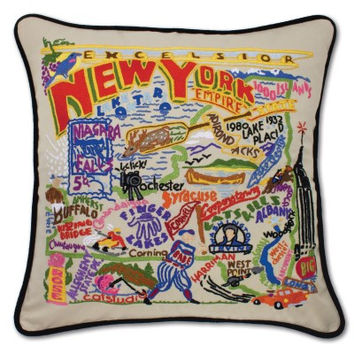 New York Hand Embroidered Pillow