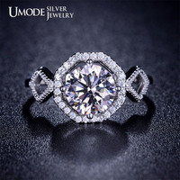 2 Carat Cubic Zirconia Engagement Ring Solitaire Ring Round Cut Diamond Ring Sterling Silver Ring Halo Engagement Ring Wedding Ring