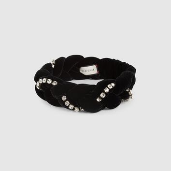 GUCCI Braided velvet headband with crystals