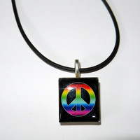 Peace Sign Scrabble Tile Necklace on Black Cord