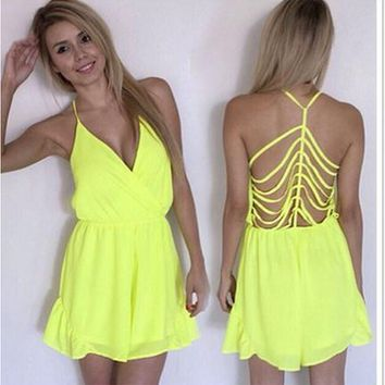 FASHION SEXY V-NECK BACKLESS HOLLOW OUT PERSONALITY CHIFFON JUMPSUITS