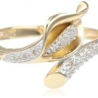 Yellow Gold Plated Sterling Silver Calla Lily Diamond Ring