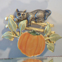 Pumpkin Cat Brooch Pin Halloween Harvest Fall Autumn Costume Jewelry Cat Lover Accessories
