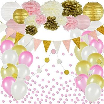 Pink and Gold Party Decorations, 50 pc Party Supply Set, Paper Pom Pom Flowers, Paper Lanterns, Glitter Polka Dot Garland, Glitter Triangle Garland, Balloons, Confetti