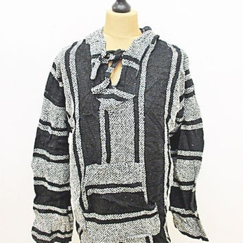 Vintage Festival Striped Mexican Grey Black Baja Hippy Jumper Hoody Jacket XL