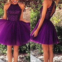[99.99] Pretty Tulle Halter Neckline Short A-line Homecoming Dresses With Beadings - dressilyme.com