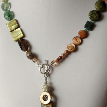 Shell, Smoky Quartz, Moss Agate, Pearl, Crystal, Carnelian Autumn Colours Asymmetrical Necklace