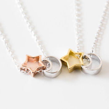 925 cute star mon necklace