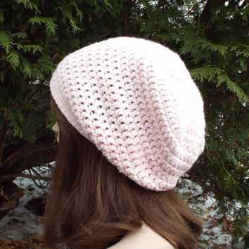 Blush Pink Slouch Beanie - Womens Slouchy Crochet Hat - Ladies Oversized Cap - Chunky Hat